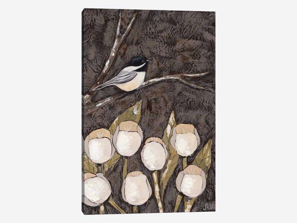 Chickadee & Tulips I by Jade Reynolds 1-piece Canvas Art