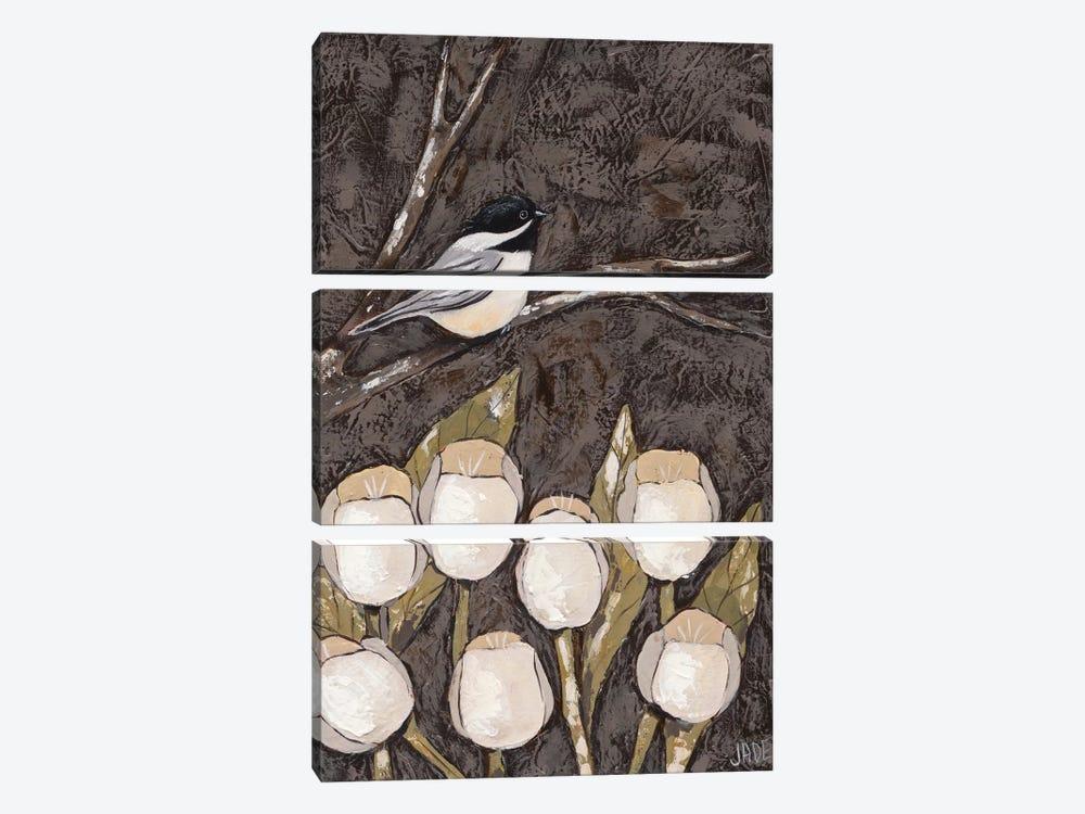 Chickadee & Tulips I by Jade Reynolds 3-piece Canvas Wall Art