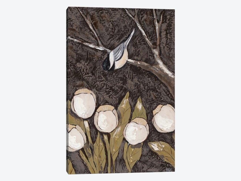 Chickadee & Tulips II by Jade Reynolds 1-piece Canvas Artwork