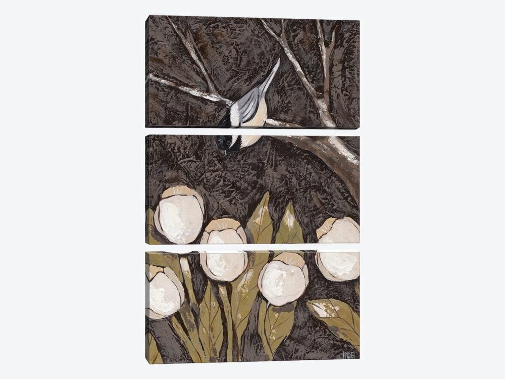 Chickadee & Tulips II by Jade Reynolds 3-piece Canvas Wall Art
