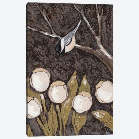 Chickadee & Tulips II Canvas Print #JAD40} by Jade Reynolds Canvas Art Print