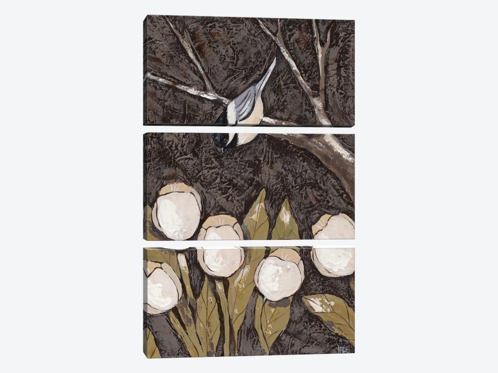 Chickadee & Tulips II by Jade Reynolds 3-piece Canvas Wall Art