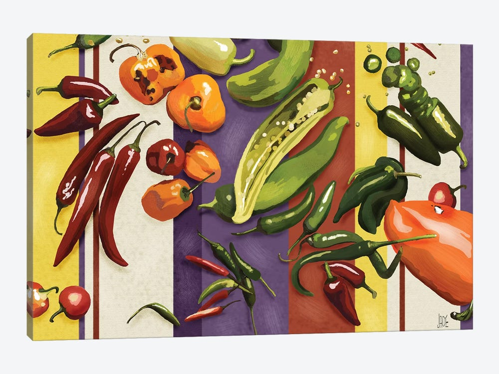 Sarape Peppers I by Jade Reynolds 1-piece Canvas Art