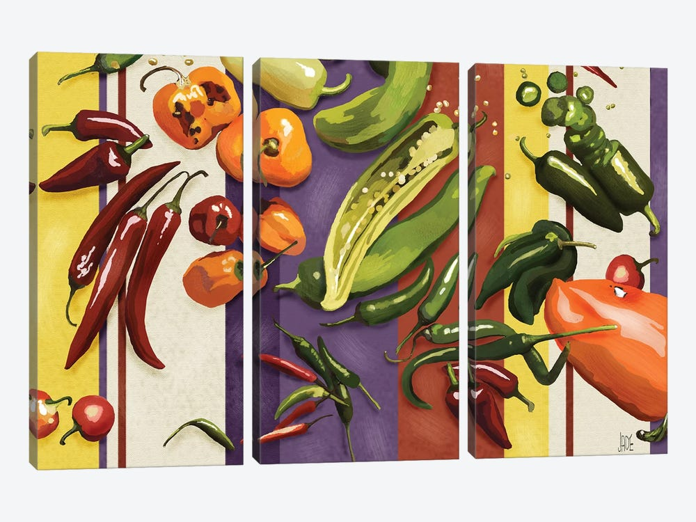Sarape Peppers I by Jade Reynolds 3-piece Canvas Art