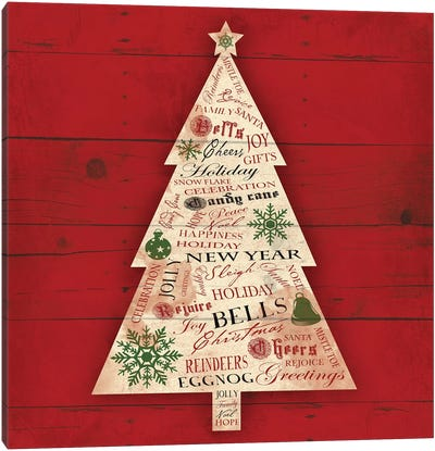Christmas Tree Type Canvas Art Print