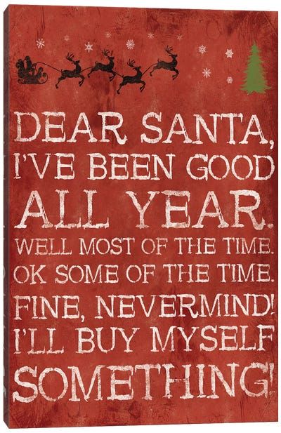 Dear Santa Nevermind Red Canvas Art Print