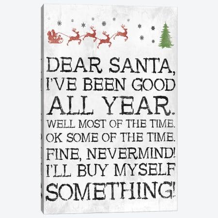 Dear Santa Nevermind White Canvas Print #JAG14} by Jace Grey Canvas Art