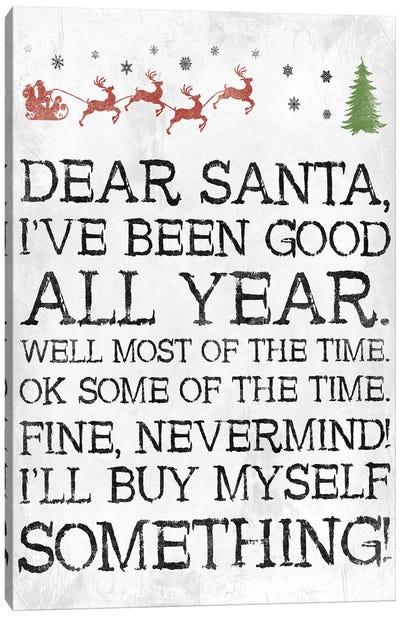 Dear Santa Nevermind White Canvas Art Print