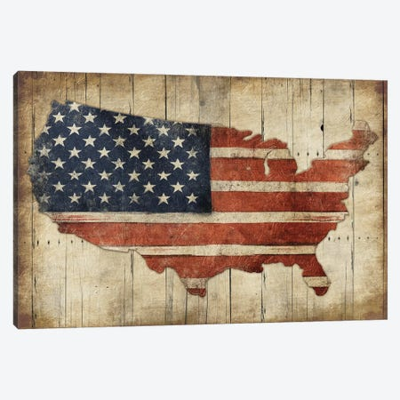 USA Flag Wood Canvas Print #JAG4} by Jace Grey Canvas Art