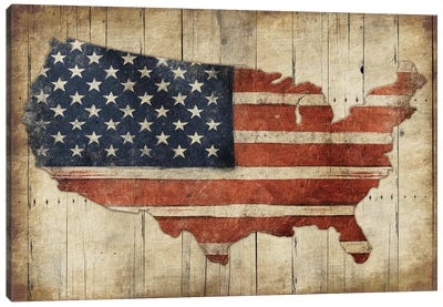 USA Flag Wood Canvas Art Print