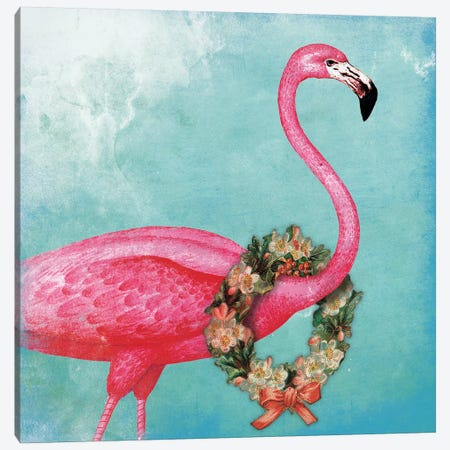 Christmas Flamingo Canvas Print #JAG8} by Jace Grey Canvas Print