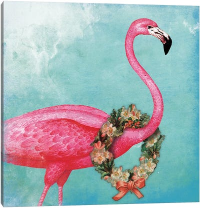 Christmas Flamingo Canvas Art Print