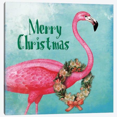 Christmas Flamingo Text Canvas Print #JAG9} by Jace Grey Canvas Art Print