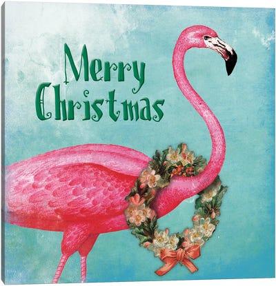 Christmas Flamingo Text Canvas Art Print