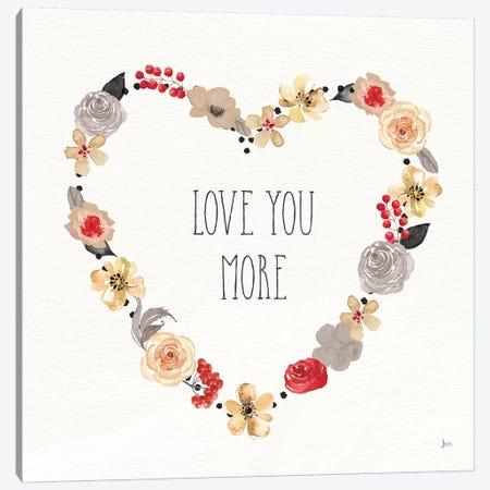 Love You More I Neutral Canvas Print #JAI5} by Jess Aiken Canvas Art