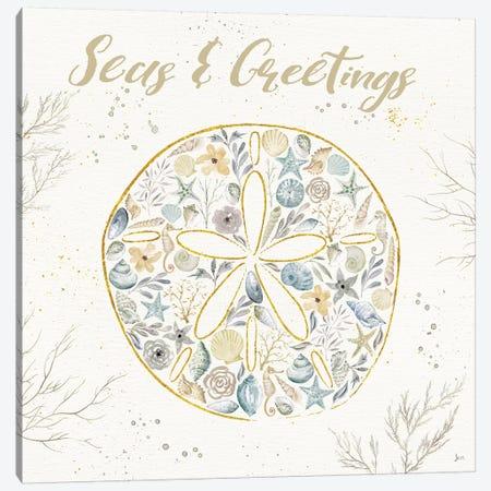 Seaside Blossoms IV Blue Greetings Canvas Print #JAI8} by Jess Aiken Canvas Art Print