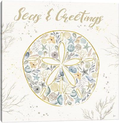 Seaside Blossoms IV Blue Greetings Canvas Art Print