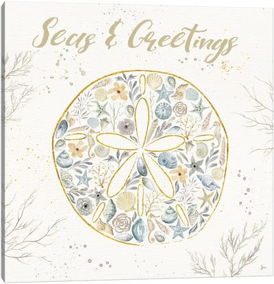 Seaside Blossoms IV Blue Greetings Canvas Art Print