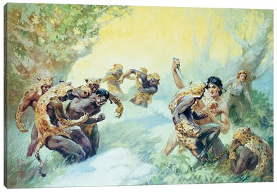 Tarzan And The Leopard Men Canvas Art Print
