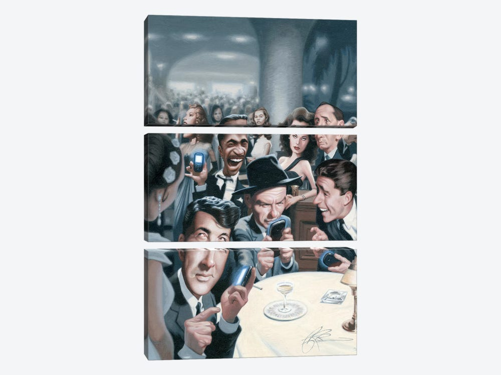 The Rat Pack Tweets by James Bennett 3-piece Canvas Art Print