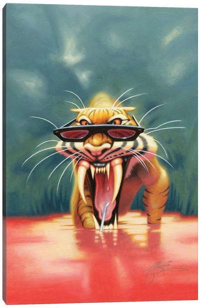 Thirsty Tiger Canvas Art Print