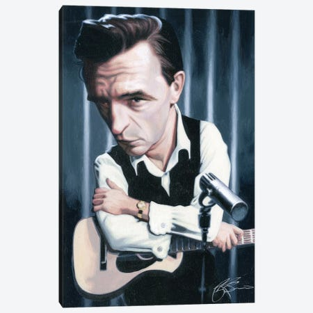 Johnny Cash Canvas Print #JAM5} by James Bennett Canvas Wall Art