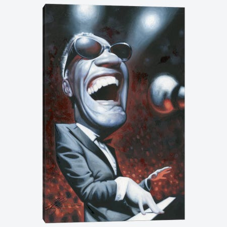 Ray Charles Canvas Print #JAM8} by James Bennett Art Print