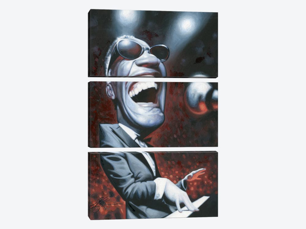 Ray Charles by James Bennett 3-piece Canvas Art
