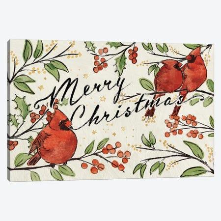 Christmas Lovebirds VIII Canvas Print #JAP100} by Janelle Penner Art Print