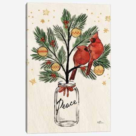 Christmas Lovebirds XIII Canvas Print #JAP104} by Janelle Penner Canvas Artwork