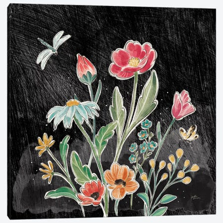 Boho Field III Black Canvas Print #JAP155} by Janelle Penner Art Print
