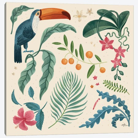 Jungle Love III Cream Canvas Print #JAP167} by Janelle Penner Canvas Art