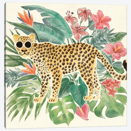 Jungle Vibes Jaguar Canvas Print #JAP185} by Janelle Penner Canvas Wall Art