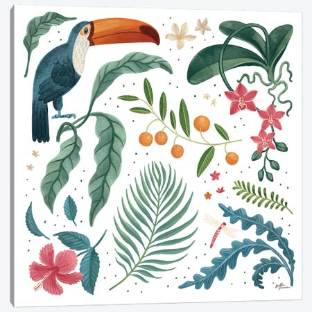 Jungle Love III White Canvas Print #JAP196} by Janelle Penner Canvas Art Print