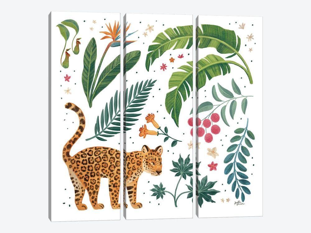 Jungle Love IV White by Janelle Penner 3-piece Canvas Print