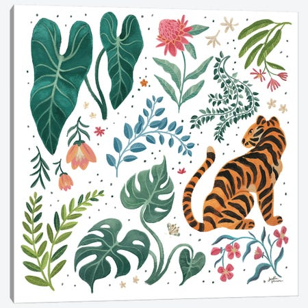 Jungle Love V White Canvas Print #JAP198} by Janelle Penner Canvas Wall Art