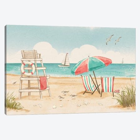 Beach Time I 3-Piece Canvas #JAP1} by Janelle Penner Canvas Art Print