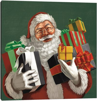 Holiday Santa IV Dark Green Canvas Art Print