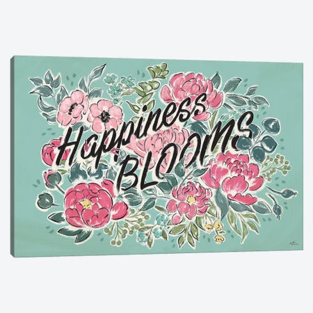 Live in Bloom I Teal Canvas Print #JAP26} by Janelle Penner Canvas Artwork