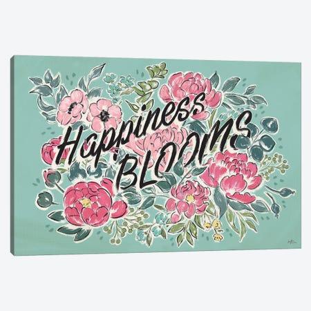 Live in Bloom I Teal Canvas Print #JAP26} by Janelle Penner Canvas Artwork