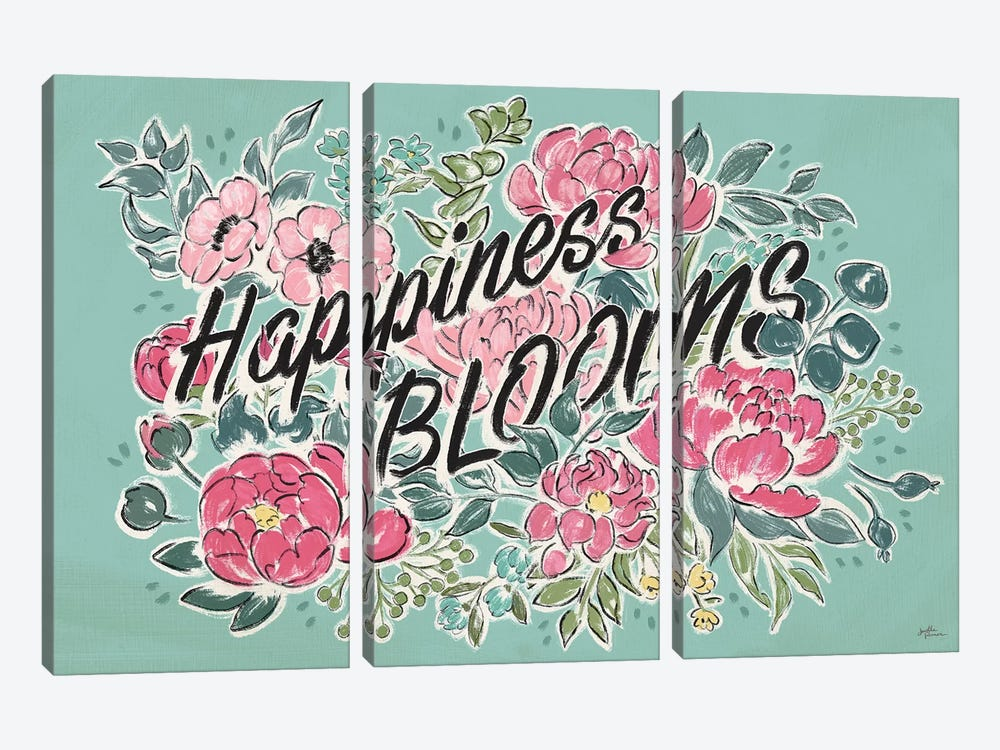 Live in Bloom I Teal by Janelle Penner 3-piece Canvas Artwork