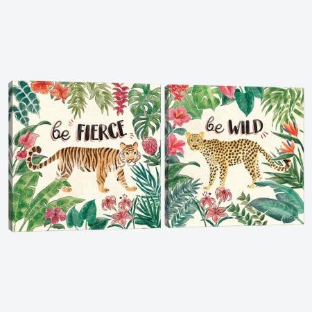 Jungle Vibes Diptych I Canvas Print Set #JAP2HSET001} by Janelle Penner Canvas Artwork