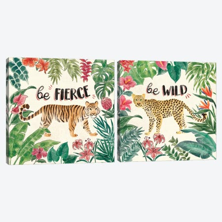 Jungle Vibes Diptych I Canvas Print Set #JAP2HSET001} by Janelle Penner Canvas Artwork