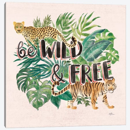 Jungle Vibes VII - Be Wild and Free Pink Canvas Print #JAP62} by Janelle Penner Art Print