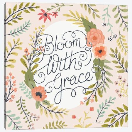 Retro Garden II - Bloom with Grace Pale Blush Canvas Print #JAP65} by Janelle Penner Canvas Artwork
