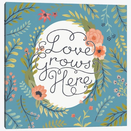 Retro Garden II - Love Grows Here Blue Canvas Print #JAP66} by Janelle Penner Canvas Artwork