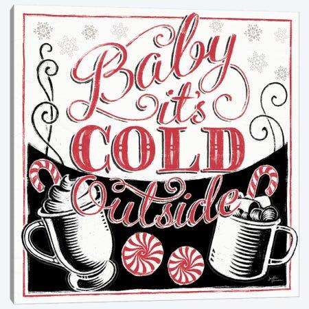Merry Little Christmas BWR Canvas Print #JAP83} by Janelle Penner Art Print