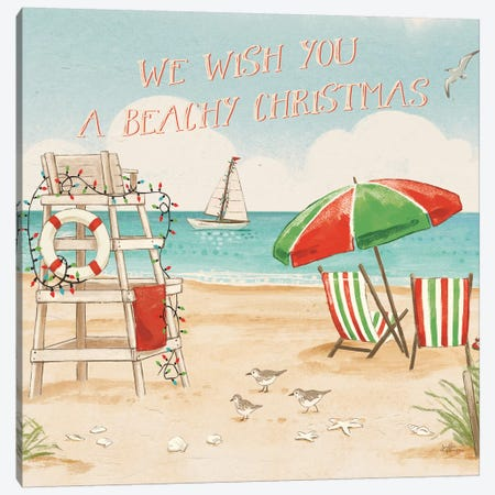 Beach Time I Christmas Canvas Print #JAP84} by Janelle Penner Canvas Wall Art