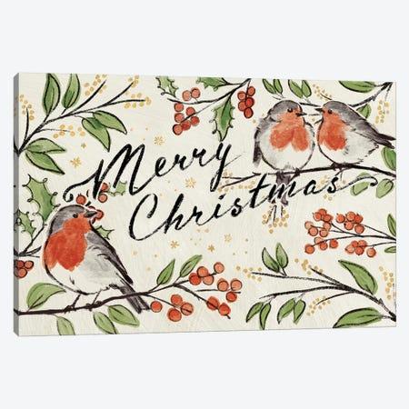 Christmas Lovebirds I Canvas Print #JAP93} by Janelle Penner Canvas Art