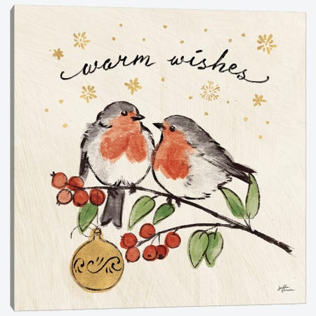 Christmas Lovebirds II Canvas Print #JAP94} by Janelle Penner Art Print